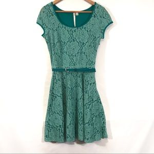 LC Lauren Conrad teal lace belted dress